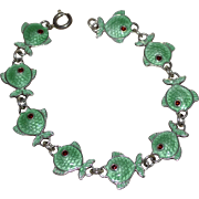 Volmer Bahner Sterling Silver Green Guilloche Enamel Fish Bracelet