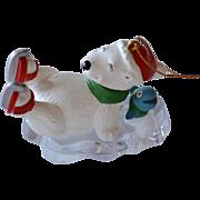 GGI Signed Skating Polar Bear & Blue Fish on Ice Christmas Ornament