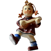 Kurt Adler Hummel Style Girl Playing Mandolin Christmas Ornament