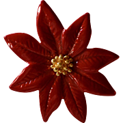 Ballou Signed Red Enamel Christmas Poinsettia Flower Unisex Tie Tack Pin