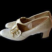 1960s Red Cross Shoes Rhinestone Buckle Gold Lame Heels