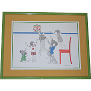 1976 Julie Corsover 'Children with Cookies' Color Art Print in Green Wood Frame