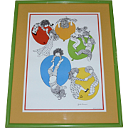 1977 Julie Corsover 'Children with Balloons' Color Art Print in Green Wood Frame