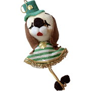 Irish Puppy Dog Flocked Pom Pom Christmas Ornament ~ Japan