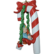 1991 National Rennoc Elf Painting Candy Cane Christmas Ornament