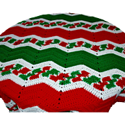 Fabulously Festive Christmas Red, Green & White Large Chevron Crochet Blanket