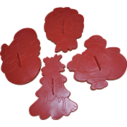 1978 Wilton Set of 4 Large Christmas Cookie Cutters: Angel, Santa, Wreath, Tree