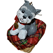 1992 Hallmark 'Puppy Love' Schnauzer Dog in Basket Christmas Ornament
