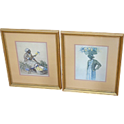 Elizabeth O'Neill Verner Set of 2 'Flower Seller' Framed Studio Prints