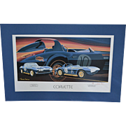 S/N Artist Terrence Davis Corvette Sports Car 25 x 17 Art Print w/ Blue Mat