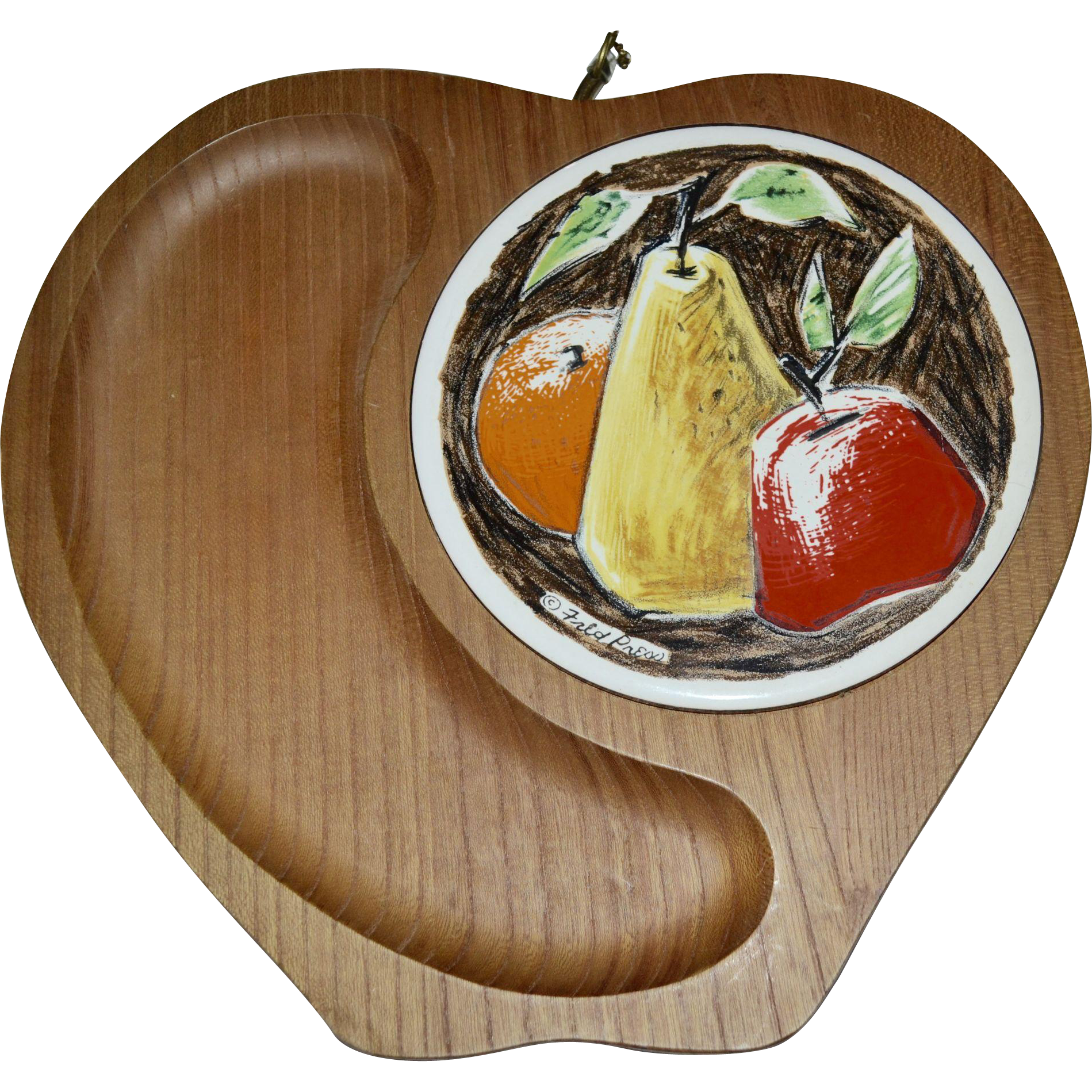 Fred Press Figural Apple Fruit & Cheese Cutting Board Wood Tray