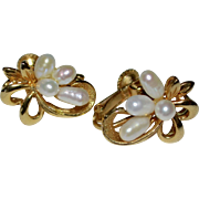 Creamy White Baroque Pearl Flower Gold Plated Earrings