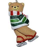 Large Hand-painted Skating Teddy Bear Porcelain Christmas Ornament