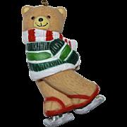 Large Hand-painted Skating Teddy Bear Porcelain Christmas Ornament