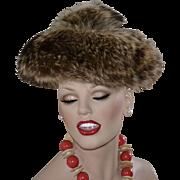 Genuine Fur Pom Pom Pancake Beret Style Hat