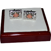 Chinese Silver & Genuine Pink Coral Men's Cuff Links
