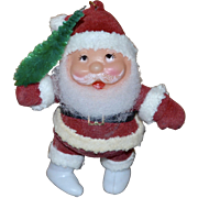 Red Flocked Santa w/ Green Bottled Brush Christmas Ornament