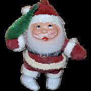 Red Flocked Santa w/ Green Bottled Brush Christmas Ornament
