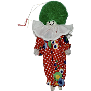 Painted Wood Clown w/ Green Puffy Hair Christmas Ornament