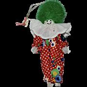 Painted Wood Clown w/ Green Puffy Hair Christmas Ornament
