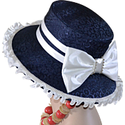 Giovanna Designer Navy Blue Large White Bow & Rhinestone Church Hat