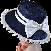 Giovanna Designer Navy Blue Large White Bow & Rhinestone Church Hat