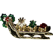 Enamel Christmas Gifts on Sleigh Goldtone Pin