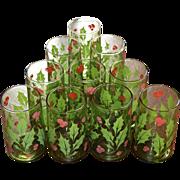 Set of 10 Christmas Holly & Berry Avocado Green Tumbler Glasses