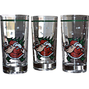 Set of 3 Christmas Santa Carrying Tree & Gifts Tumbler Drinking Glasses