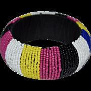 Gorgeous Glass Seed Bead Wide Bangle Bracelet