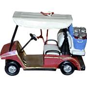 Large Red Golf Cart w/ Beer Christmas Ornament