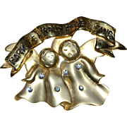 Large 'Hark the Herald Angels Sing' Rhinestone Brooch/Pin