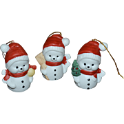 Set of 3 Santa Snowman White Bisque Porcelain Christmas Ornaments