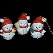 Set of 3 Santa Snowman White Bisque Porcelain Christmas Ornaments