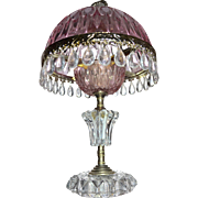 Gorgeous Holland Made Pink Cut Glass Crystal Prism Boudoir Bedroom Lamp