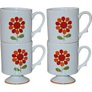 Set of 4 Orange & Red Flower White Pedestal Stackable Mug Set
