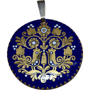 Blue Enamel on Copper Dala Chicken/Bird Folk Art Pendant