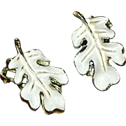 White Enamel Oak Leaf Clip Earrings