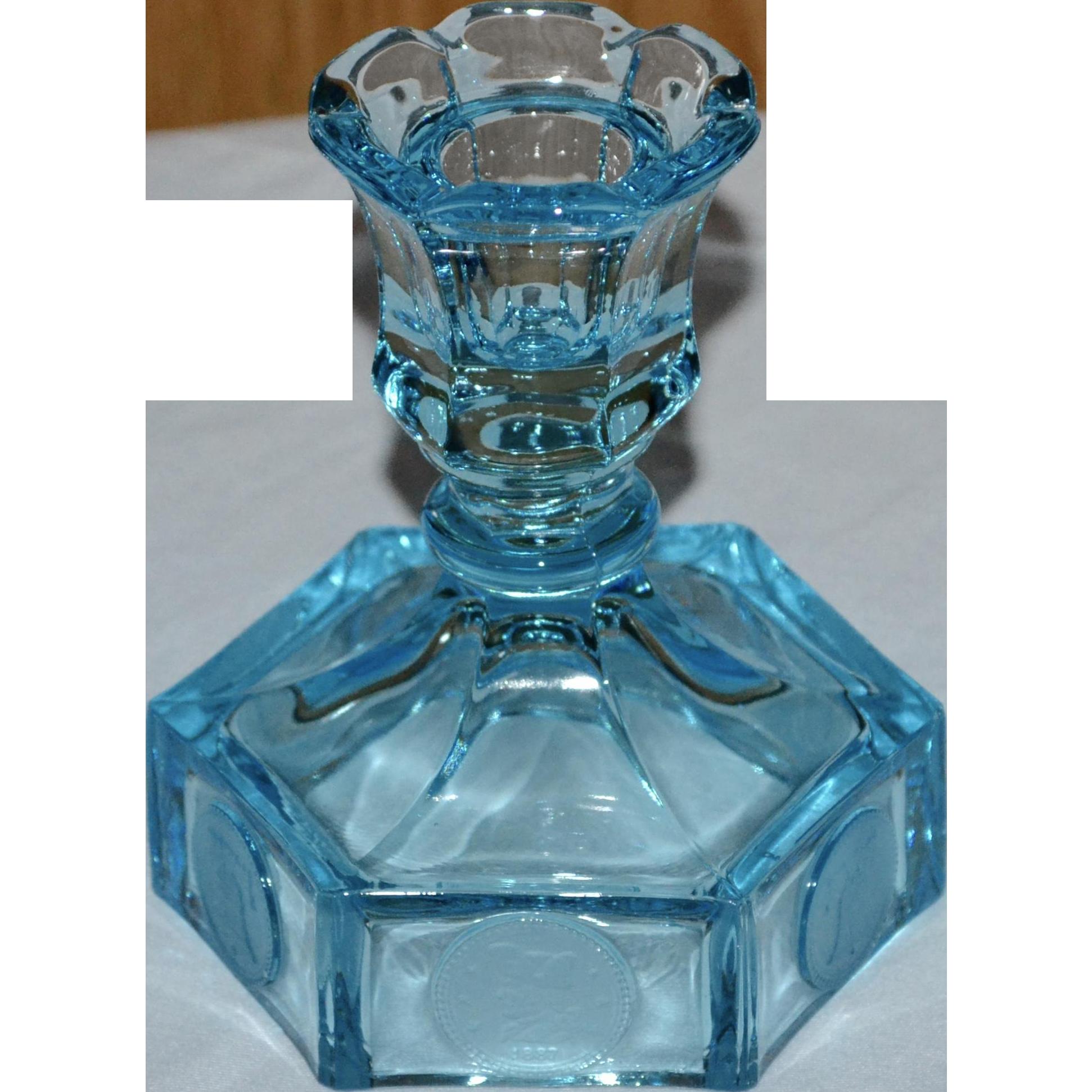 Fostoria Coin Pattern Azure Blue Glass on Blue Fostoria Coin Glass
