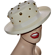 Importina Signed Gold Studded Glam White Rolled Brim Hat