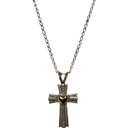 Sterling Silver Cross w/ 14K Gold Heart Pendant Necklace