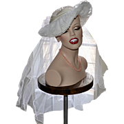 White Faux Pearl & Lace Wide Brim Wedding or Bridal Hat with Veil