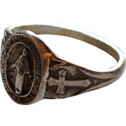 Creed Sterling Silver Miraculous Mary Religious Medal Ring for Woman or Child ~ Size 4 3/4