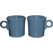 Fiesta Ware RETIRED Set of 2 Periwinkle Blue O-Ring Handle Mugs