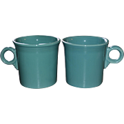 Fiesta Ware Set of 2 Turquoise O-Ring Handle Mugs