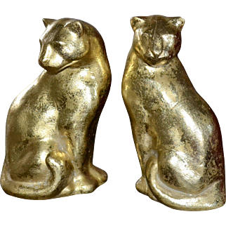Set of 2 Gold Flecked Modernist Style Panther Sculptures