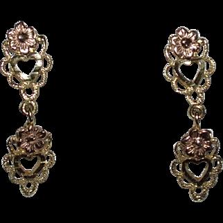 14K Yellow & Rose Gold Petite Heart Dangle Earrings