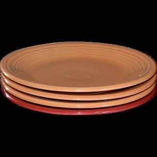 Fiesta Ware Set of 4 Salad Plates: Tangerine Orange & Scarlet Red