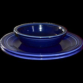 Fiesta Ware Set of 2 Cobalt Blue Dinner Plates & Coupe Soup/Cereal Bowl
