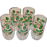 Festive Set of 5 Christmas Holly & Berry Drinking Glass Tumblers